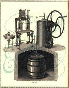dřevěný sud piva, ruční kompresor se vzdušníkem, stáčecí stroj dvouhlavý, filtr