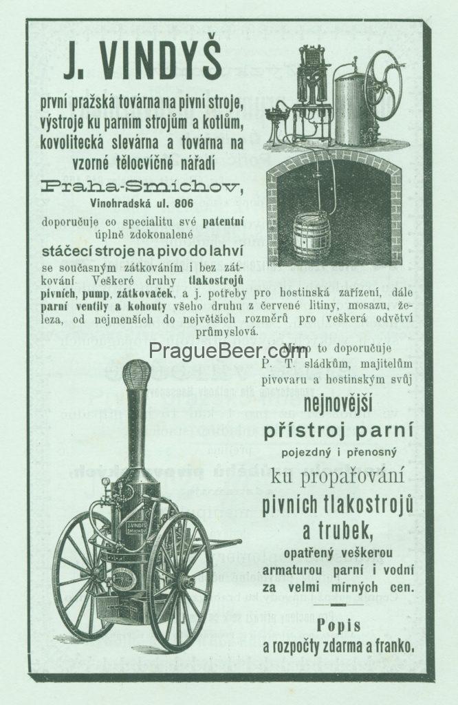 J. Vindyš, Praha-Smíchov. První pražská továrna na pivní stroje