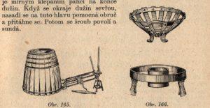 Bednářský stahovák s řehtačkou, vypalovací koš a vypalovací pánev