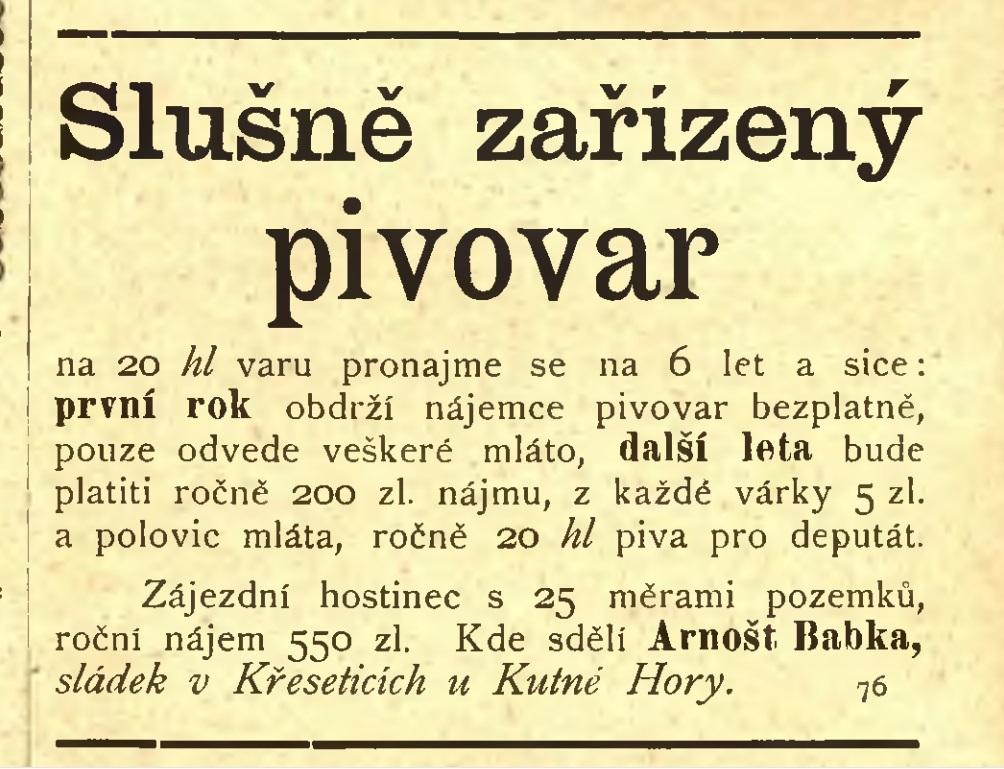 Arnošt Babka, sládek v Křeseticích u Kutné Hory