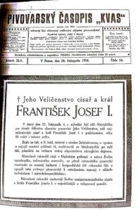 Parte Jeho Veličenstva císaře a krále Františka Josefa I v pivovarském časopise Kvas